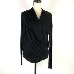 Alice + Olivia Air Black Long Sleeve Blouse Size M